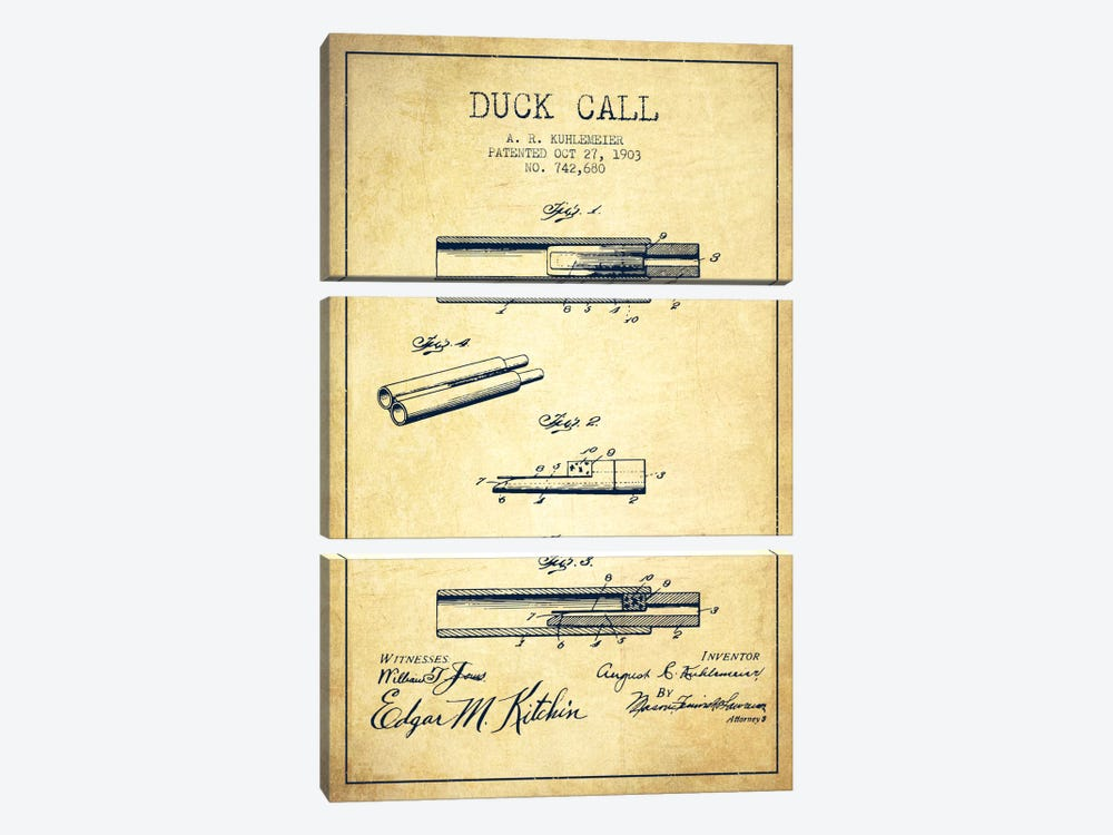 Duck Call Vintage Patent Blueprint by Aged Pixel 3-piece Canvas Wall Art