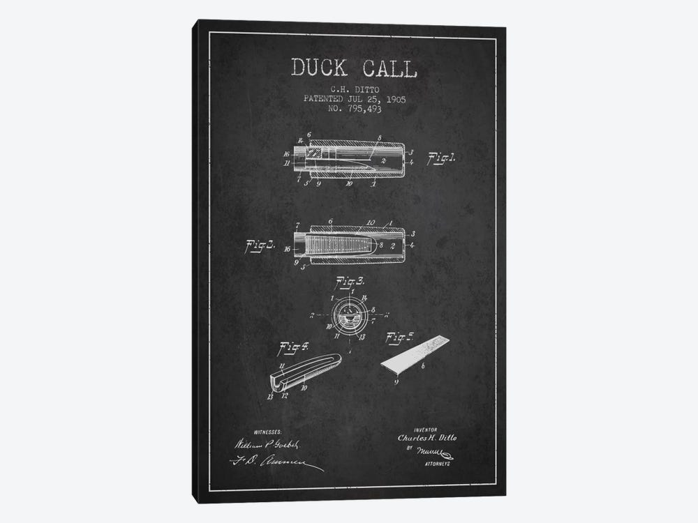Duck Call 2 Charcoal Patent Blueprint by Aged Pixel 1-piece Canvas Print