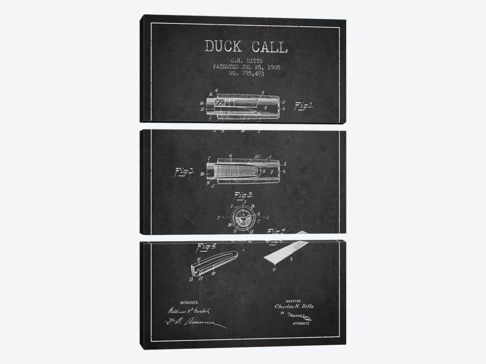 Duck Call 2 Charcoal Patent Blueprint by Aged Pixel 3-piece Canvas Print