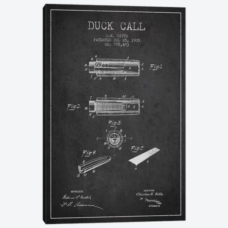 Duck Call 2 Charcoal Patent Blueprint Canvas Print #ADP1124} by Aged Pixel Canvas Wall Art