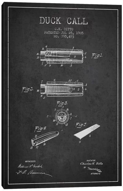 Duck Call 2 Charcoal Patent Blueprint Canvas Art Print