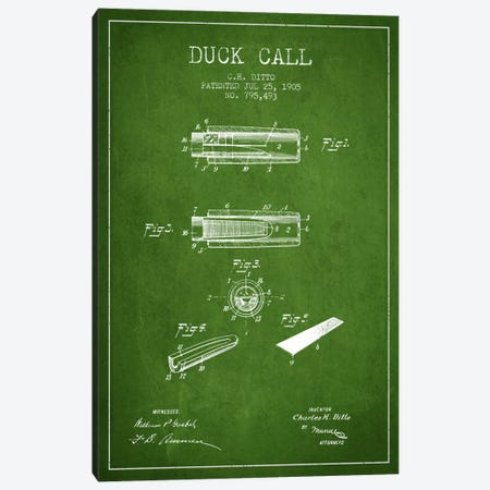 Duck Call 2 Green Patent Blueprint Canvas Print #ADP1125} by Aged Pixel Canvas Artwork
