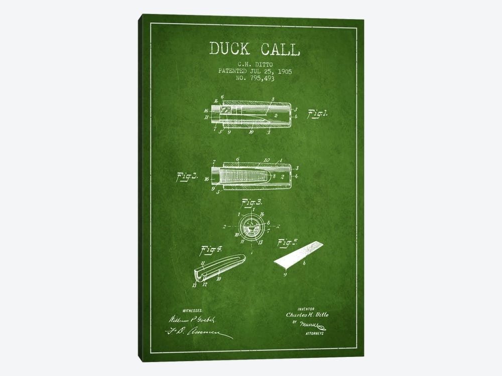 Duck Call 2 Green Patent Blueprint by Aged Pixel 1-piece Canvas Wall Art