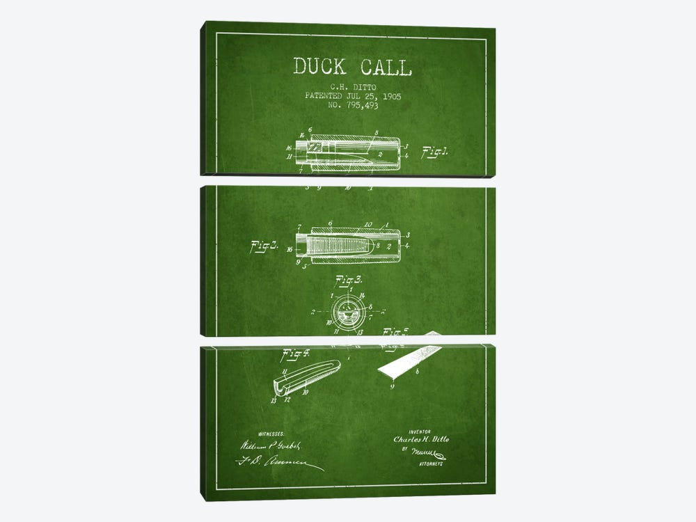 Duck Call 2 Green Patent Blueprint by Aged Pixel 3-piece Canvas Art