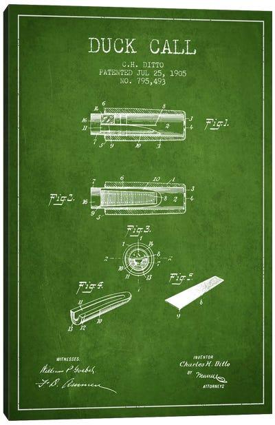 Duck Call 2 Green Patent Blueprint Canvas Art Print
