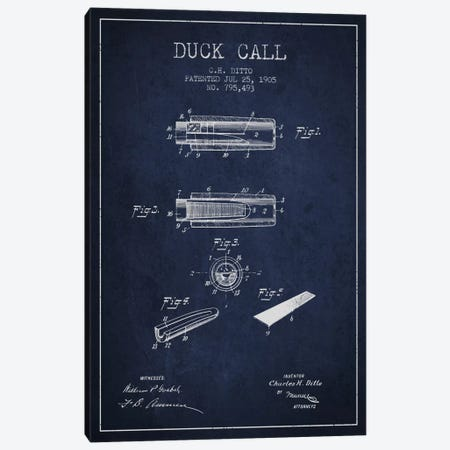 Duck Call 2 Navy Blue Patent Blueprint Canvas Print #ADP1126} by Aged Pixel Canvas Art