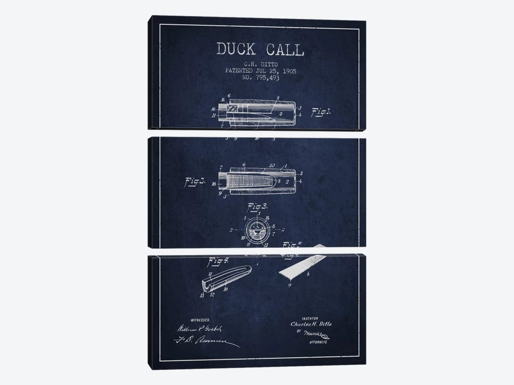 Duck Call 2 Navy Blue Patent Blueprint by Aged Pixel 3-piece Canvas Art Print