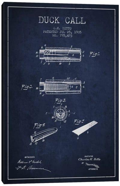 Duck Call 2 Navy Blue Patent Blueprint Canvas Art Print