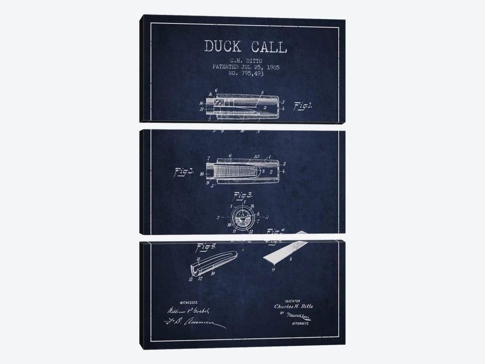 Duck Call 2 Navy Blue Patent Blueprint by Aged Pixel 3-piece Canvas Art Print