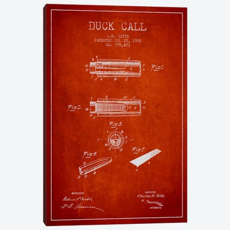 Duck Call 2 Red Patent Blueprint Canvas Print #ADP1127} by Aged Pixel Canvas Wall Art