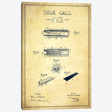 Duck Call 2 Vintage Patent Blueprint Canvas Print #ADP1128} by Aged Pixel Canvas Art Print