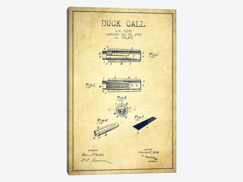 Duck Call 2 Vintage Patent Blueprint by Aged Pixel 1-piece Art Print