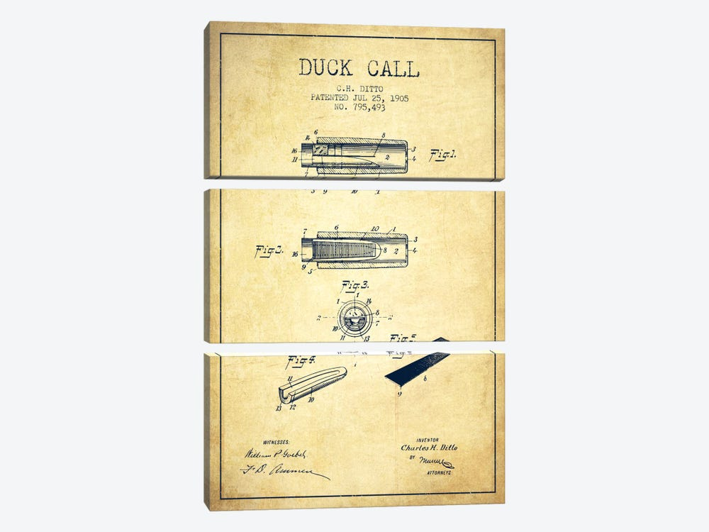 Duck Call 2 Vintage Patent Blueprint by Aged Pixel 3-piece Canvas Print
