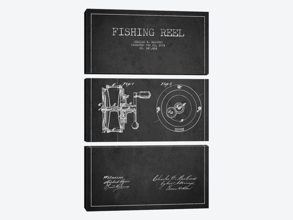 Fishing Reel Dark Patent Blueprint by Aged Pixel 3-piece Canvas Art