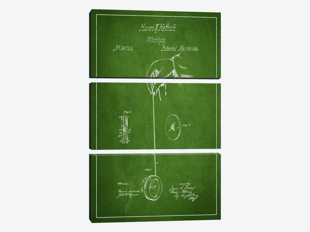 Yoyo Green Patent Blueprint by Aged Pixel 3-piece Canvas Art Print