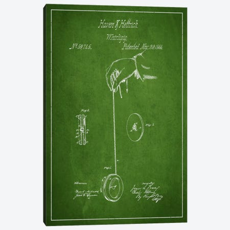 Yoyo Green Patent Blueprint Canvas Print #ADP112} by Aged Pixel Canvas Art Print