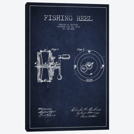 Fishing Reel Navy Blue Patent Blueprint Canvas Print #ADP1131} by Aged Pixel Canvas Wall Art