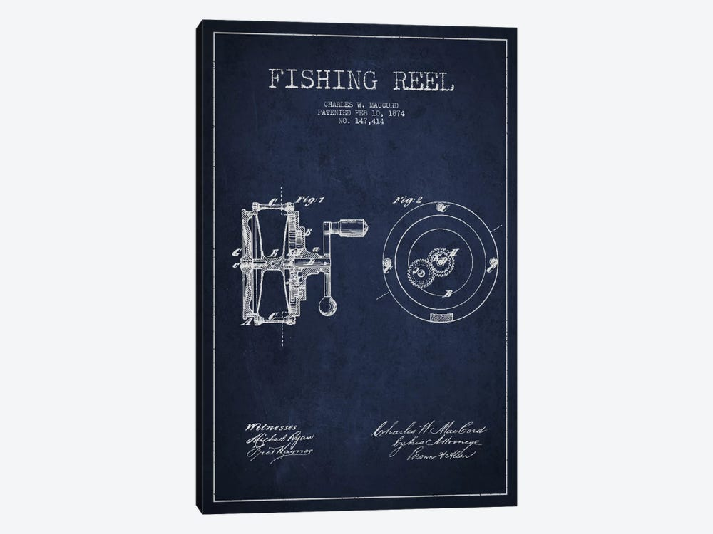 Fishing Reel Navy Blue Patent Blueprint by Aged Pixel 1-piece Canvas Print