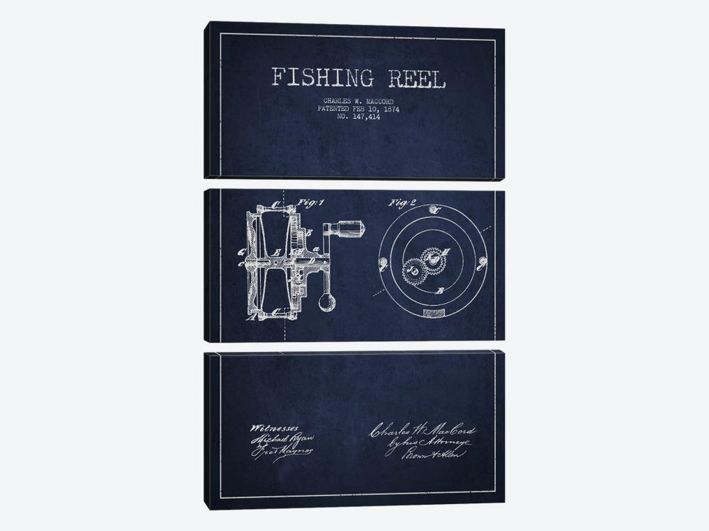 Fishing Reel Navy Blue Patent Blueprint by Aged Pixel 3-piece Canvas Print