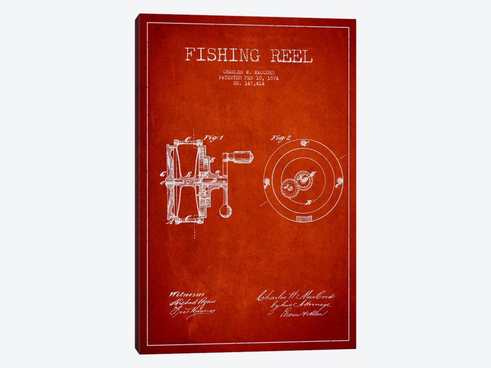 Fishing Reel Red Patent Blueprint by Aged Pixel 1-piece Canvas Artwork