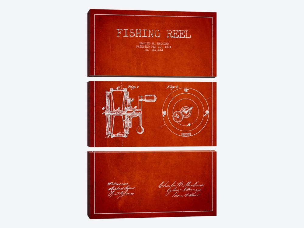 Fishing Reel Red Patent Blueprint by Aged Pixel 3-piece Canvas Wall Art