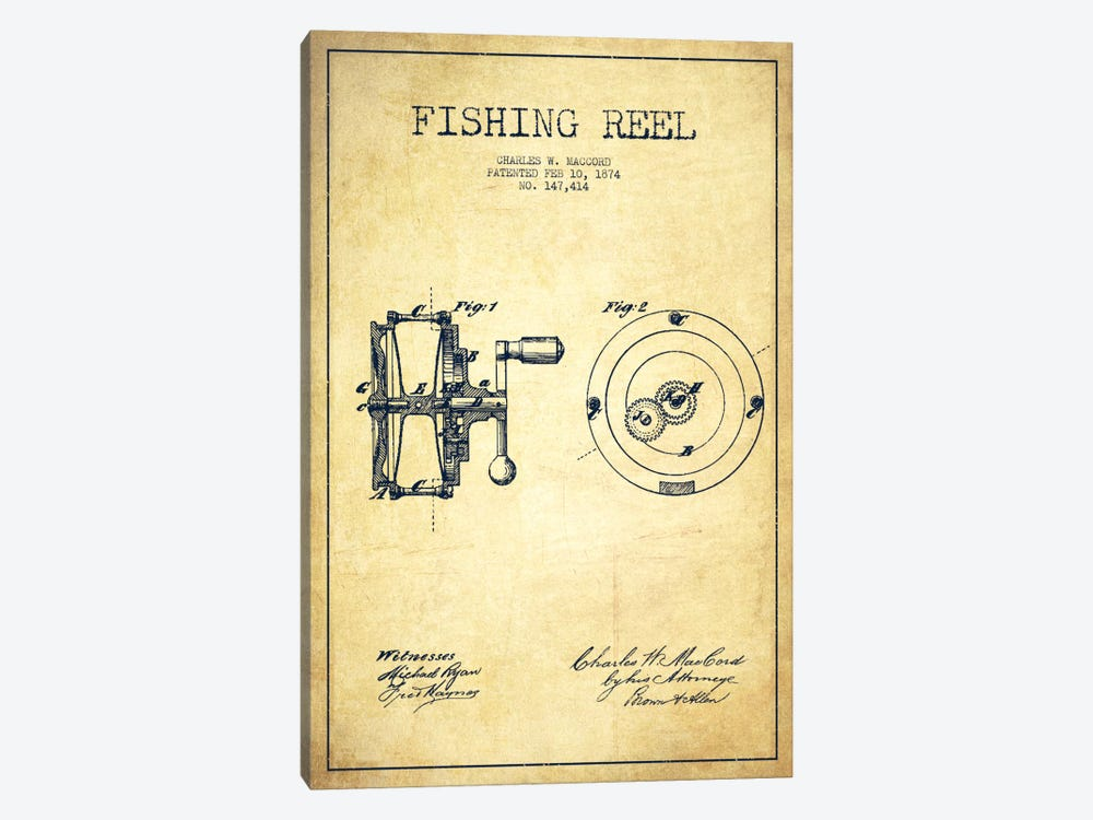 Fishing Reel Vintage Patent Blueprint by Aged Pixel 1-piece Art Print