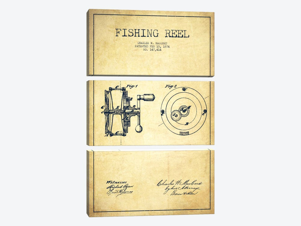 Fishing Reel Vintage Patent Blueprint by Aged Pixel 3-piece Canvas Art Print