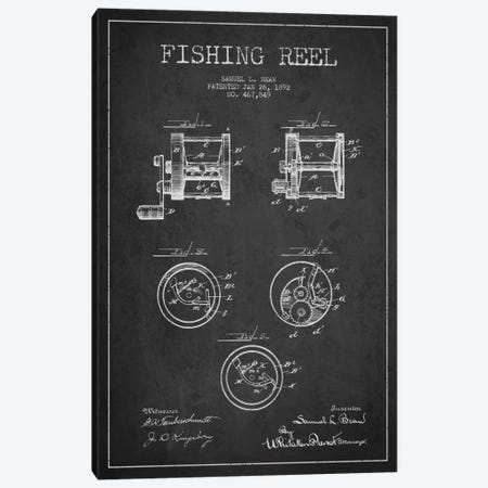 Fishing Reel Dark Patent Blueprint Canvas Print #ADP1134} by Aged Pixel Canvas Art Print