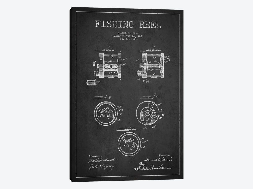 Fishing Reel Dark Patent Blueprint by Aged Pixel 1-piece Canvas Artwork