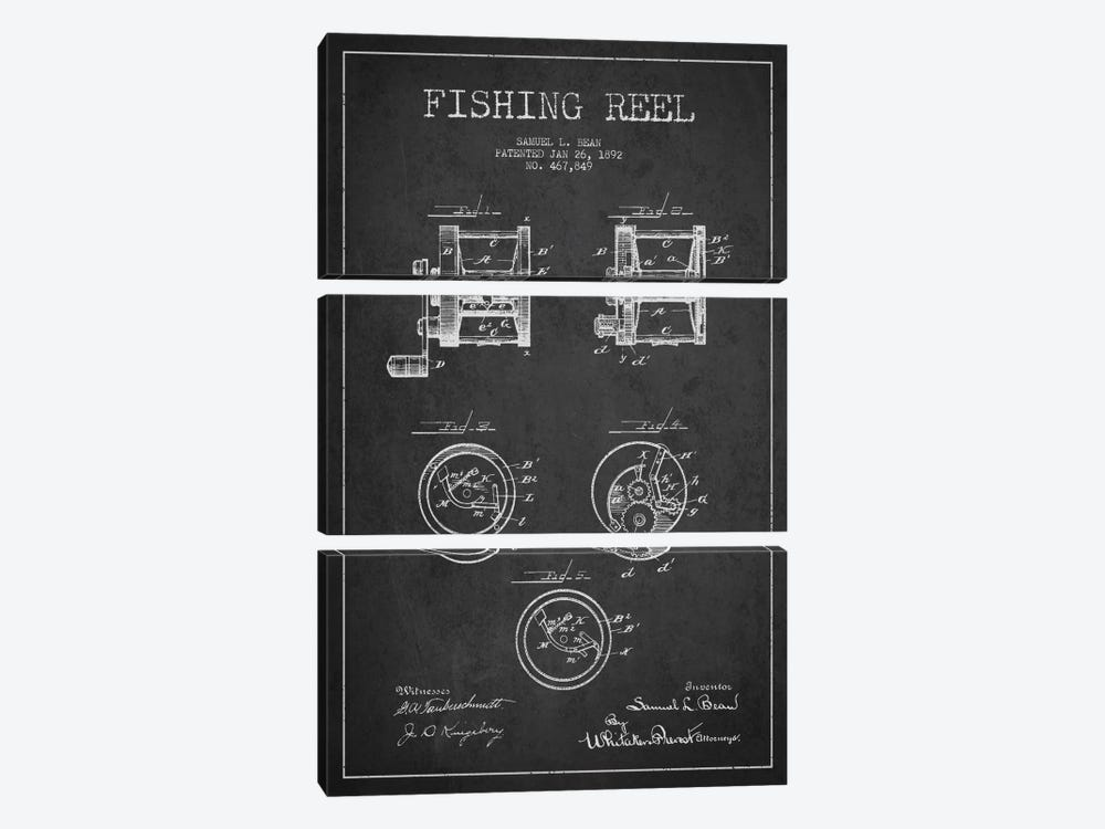 Fishing Reel Dark Patent Blueprint by Aged Pixel 3-piece Canvas Wall Art