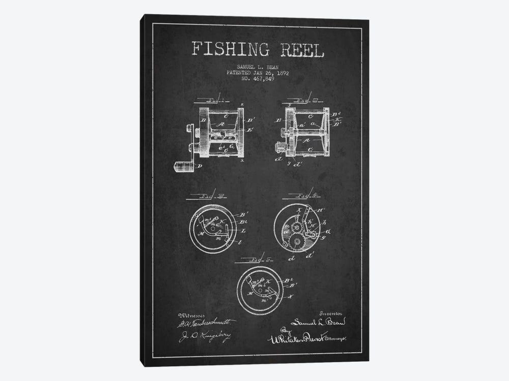 Fishing Reel Dark Patent Blueprint by Aged Pixel 1-piece Canvas Artwork