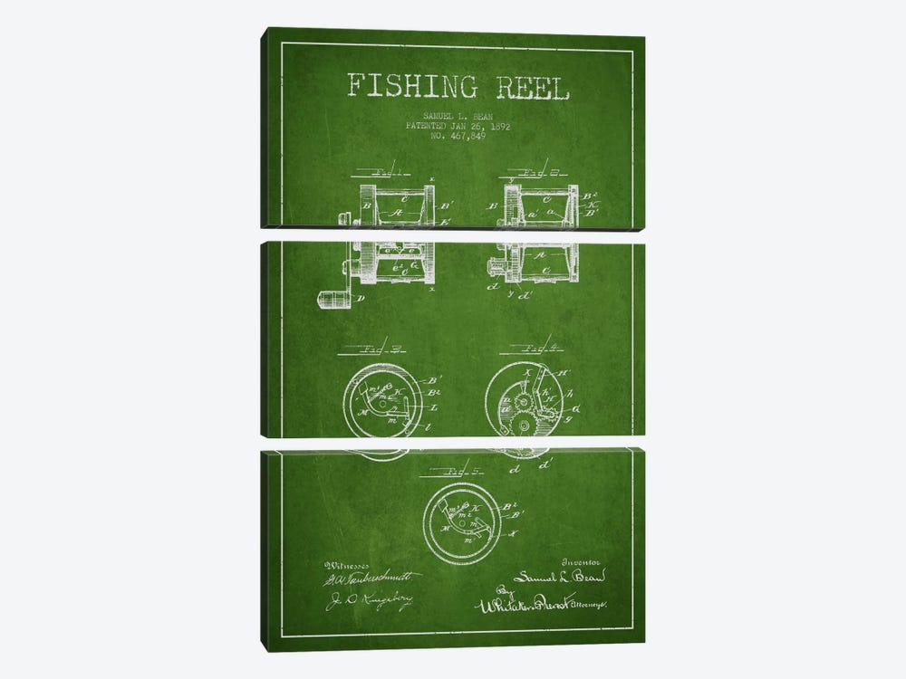 Fishing Reel Green Patent Blueprint by Aged Pixel 3-piece Canvas Art Print