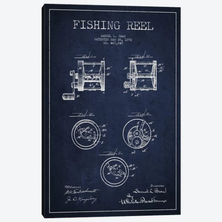 Fishing Reel Navy Blue Patent Blueprint Canvas Print #ADP1136} by Aged Pixel Art Print
