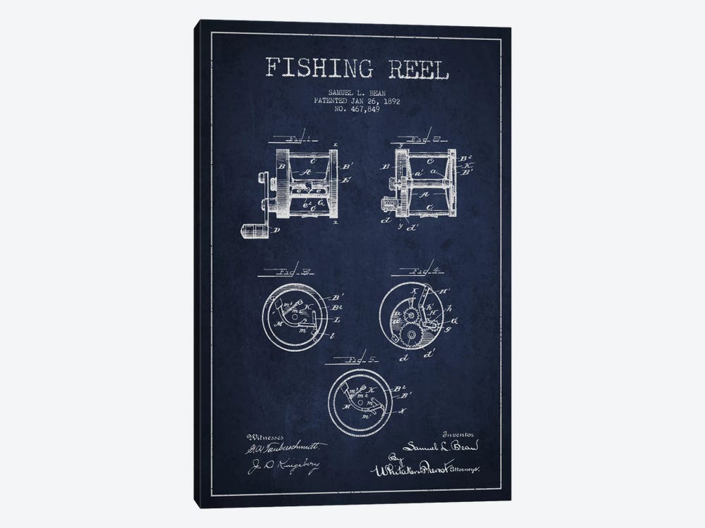 Fishing Reel Navy Blue Patent Blueprint by Aged Pixel 1-piece Canvas Art