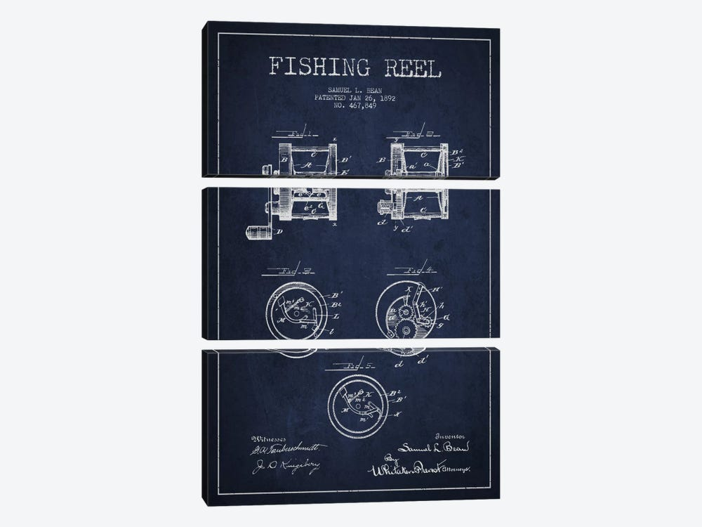 Fishing Reel Navy Blue Patent Blueprint by Aged Pixel 3-piece Canvas Artwork