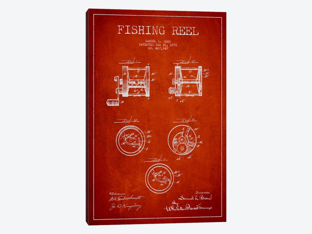 Fishing Reel Red Patent Blueprint by Aged Pixel 1-piece Canvas Art Print