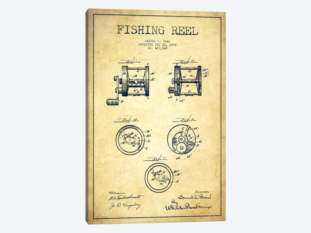 Fishing Reel Vintage Patent Blueprint by Aged Pixel 1-piece Canvas Artwork