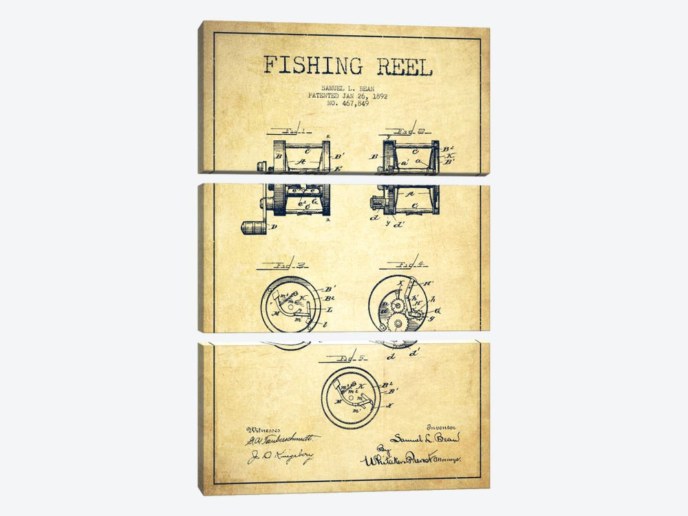 Fishing Reel Vintage Patent Blueprint by Aged Pixel 3-piece Canvas Art