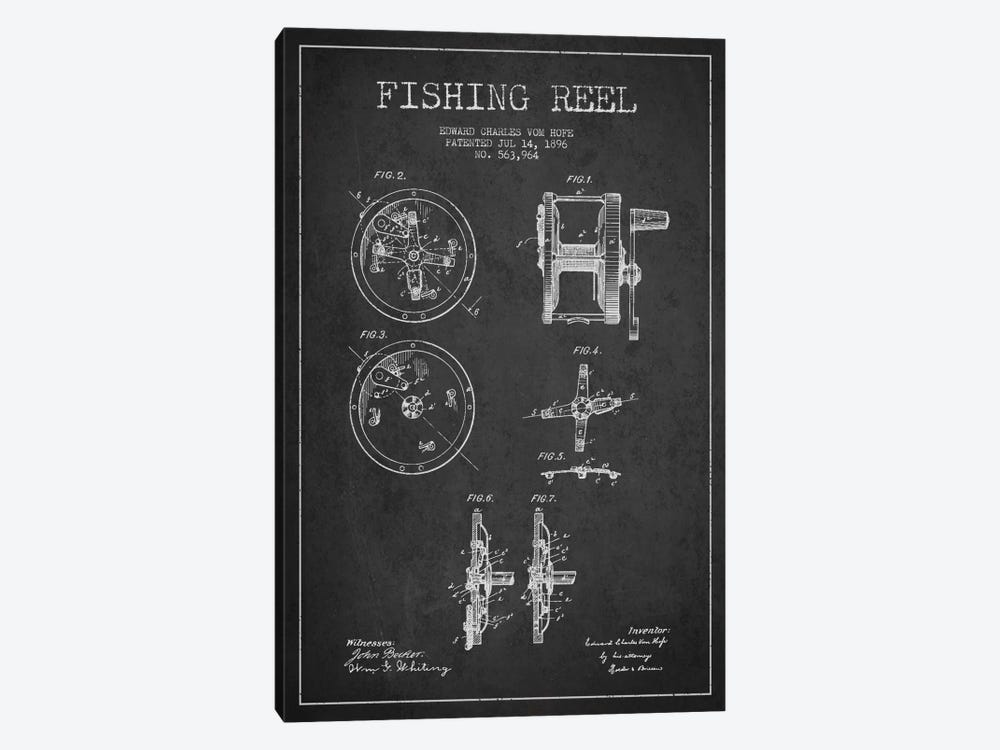 Fishing Reel Dark Patent Blueprint by Aged Pixel 1-piece Art Print