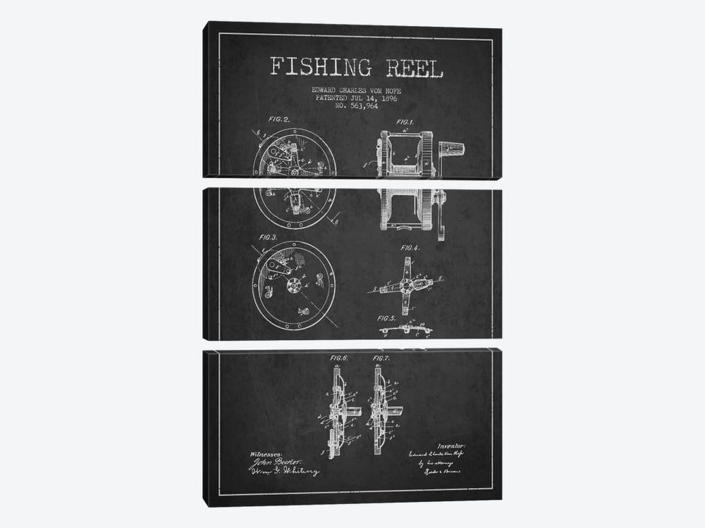 Fishing Reel Dark Patent Blueprint by Aged Pixel 3-piece Art Print