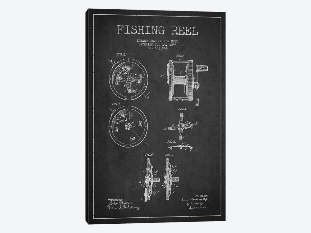 Fishing Reel Dark Patent Blueprint by Aged Pixel 1-piece Art Print