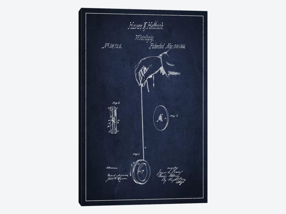 Yoyo Navy Blue Patent Blueprint by Aged Pixel 1-piece Canvas Wall Art