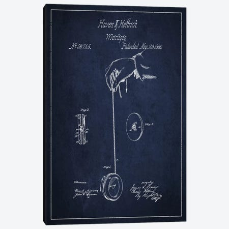 Yoyo Navy Blue Patent Blueprint Canvas Print #ADP113} by Aged Pixel Art Print