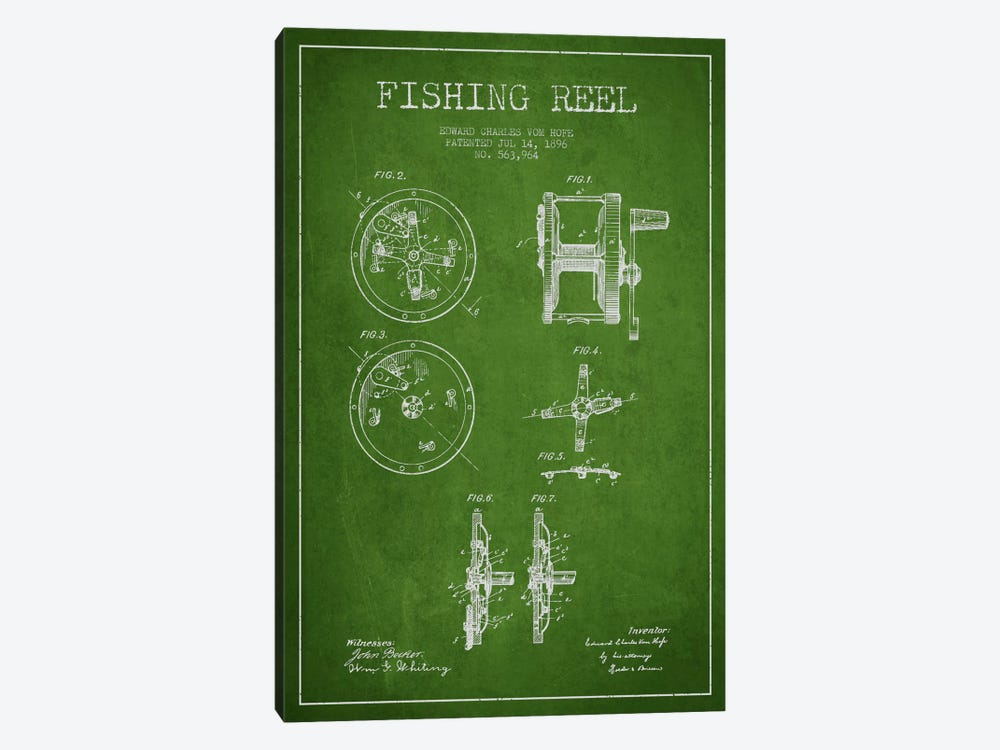 Fishing Reel Green Patent Blueprint by Aged Pixel 1-piece Art Print