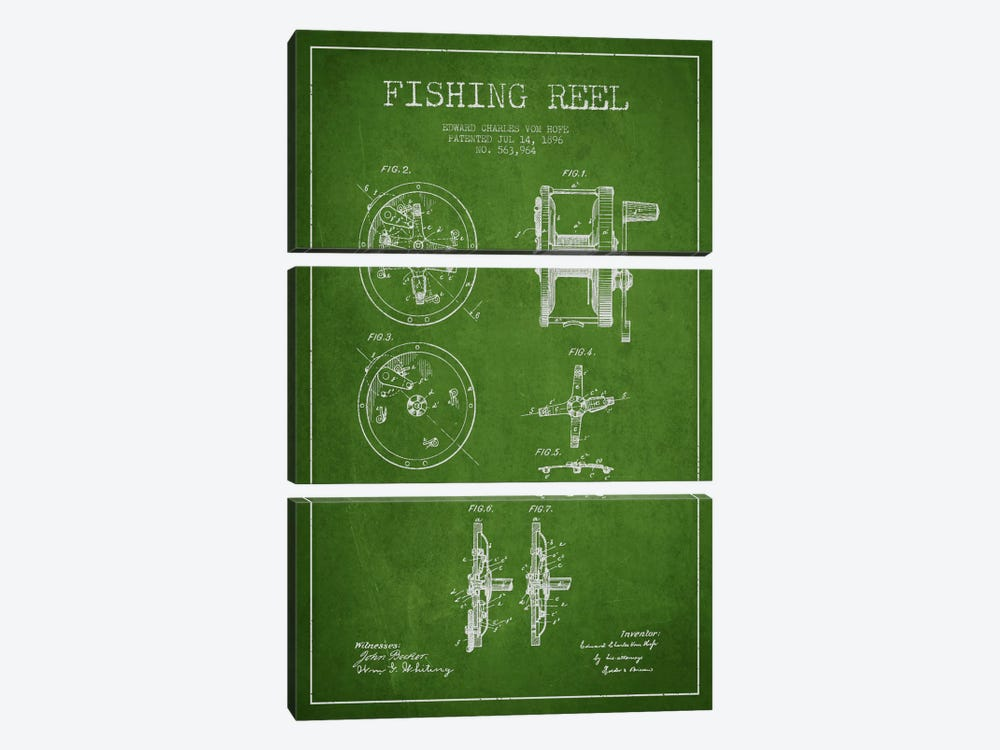 Fishing Reel Green Patent Blueprint by Aged Pixel 3-piece Art Print