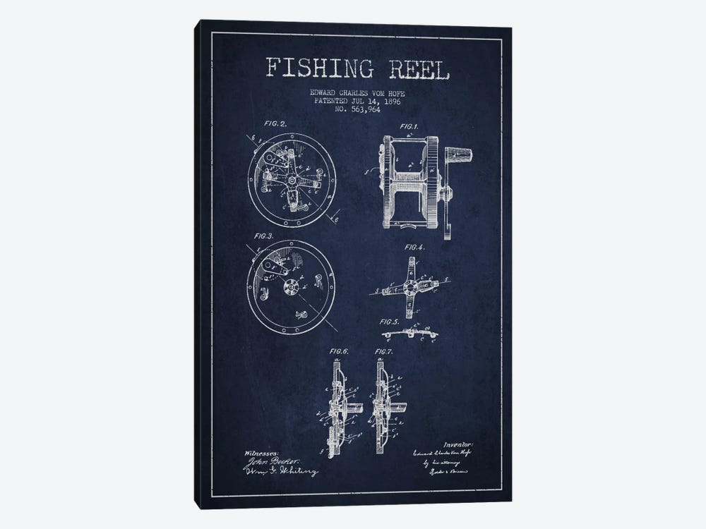 Fishing Reel Navy Blue Patent Blueprint by Aged Pixel 1-piece Canvas Wall Art