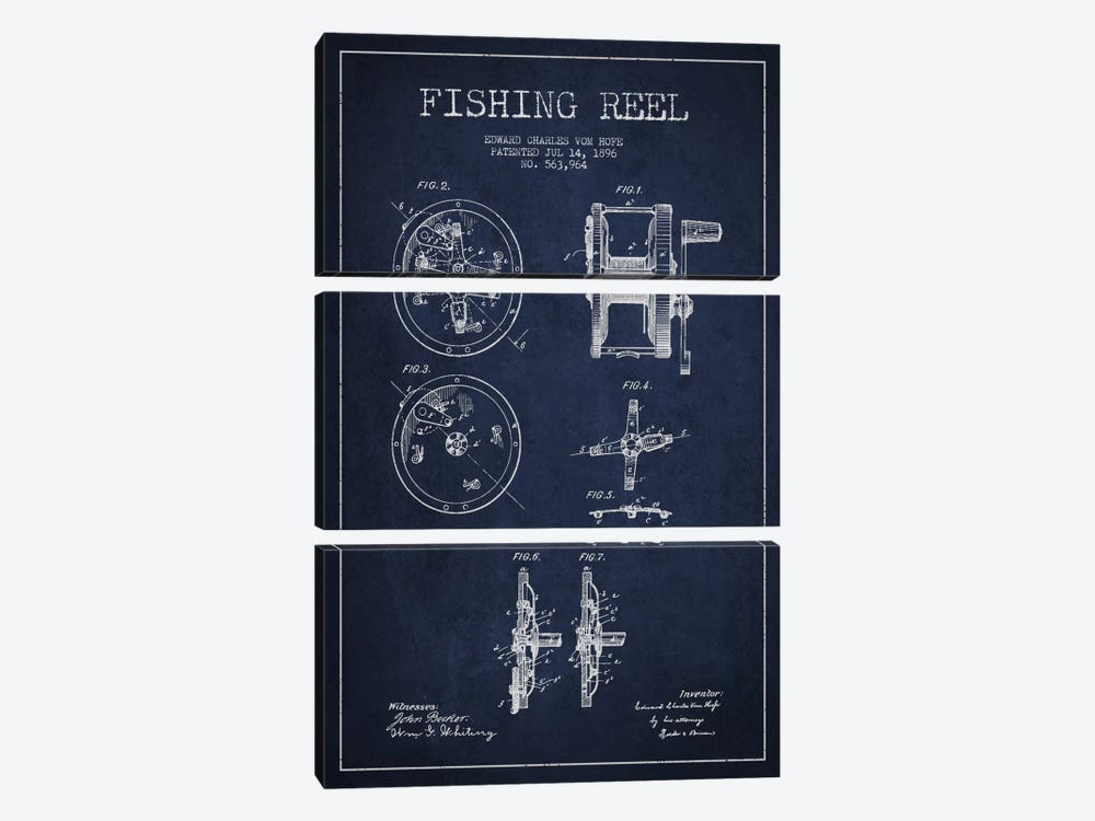 Fishing Reel Navy Blue Patent Blueprint by Aged Pixel 3-piece Canvas Art