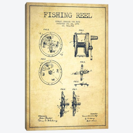 Fishing Reel Vintage Patent Blueprint Canvas Print #ADP1143} by Aged Pixel Canvas Print