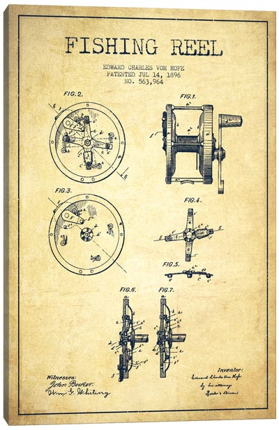 Fishing Reel Vintage Patent Blueprint Canvas Art Print