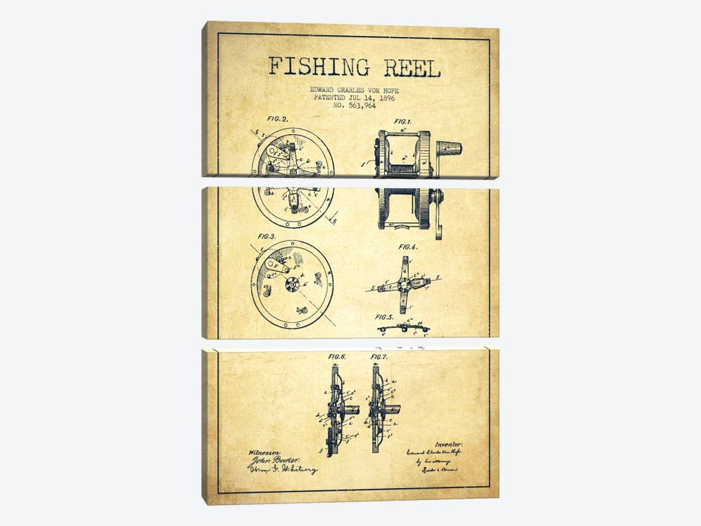 Fishing Reel Vintage Patent Blueprint by Aged Pixel 3-piece Canvas Artwork